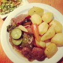 slow cooked pork shoulder with vegetables dish of the day - kark�wka duszona z warzywami danie dnia