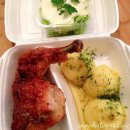 roasted chicken leg dish of the day for takeaway - pieczone udko z kurczaka danie dnia na wynos